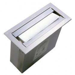 Dispensador de toallas de papel de acero inoxidable para instalar sobre una superficie de trabajo o en vertical sobre un mueble