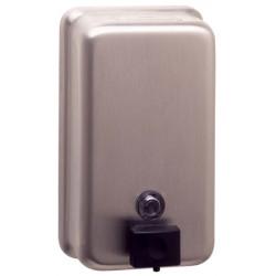 VEGA vertical stainless steel wall mounted soap dispenser, brushed finish