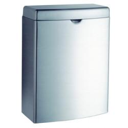 Pequeño cubo de basura de acero inoxidable con tapa, montado en la pared o de pie