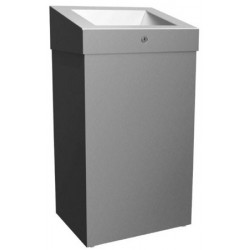 Stainless steel waste bin grand capacity wall or floor mounted ELITE with cover and lock