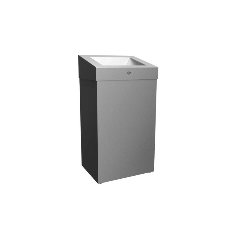 Photo Stainless steel waste bin grand capacity wall or floor mounted ELITE with cover and lock MKS-102