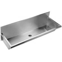 Collective wash basin stainless steel for wall faucets