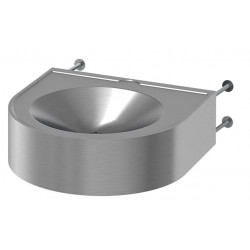 Wash basin mural stainless steel handicapped P.R.M. vandal proof fixation wall mounted