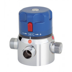 Collective thermostatic mixing tap anti-scald security