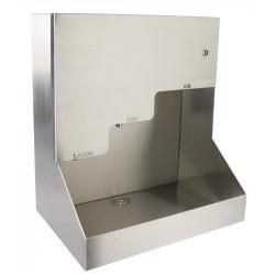 Lavabo automático de pared de acero inoxidable con jabón, agua y aire 3 en 1, robusto para colectividades