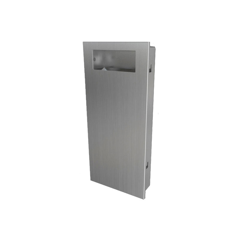 Photo Recessed waste receptacle in stainless steel SLIM design and robust DI-049