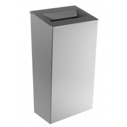 Waste bin conical in stainless steel 30 L to be placed or mural with open cover