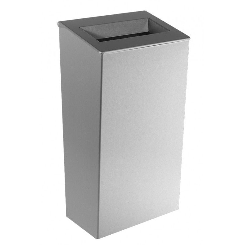 Photo Waste bin conical in stainless steel 30 L to be placed or mural with open cover DI-820