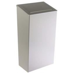 Cubo de diseño en acero inoxidable de 50 L con trampilla PUSH para colocar en la pared o en el suelo
