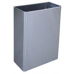 Waste bin rectangular in stainless steel 25L floor standing for collectivities