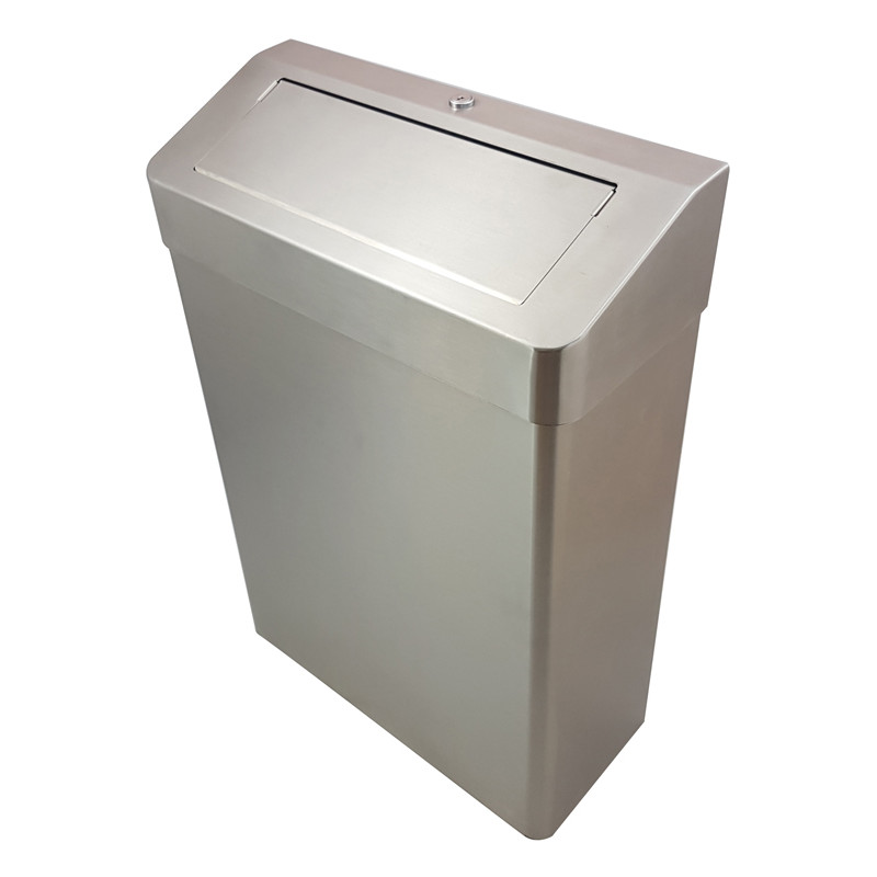 Photo Waste receptacle PUSH  lid on flor or wall stainless steel 25 L AS-356