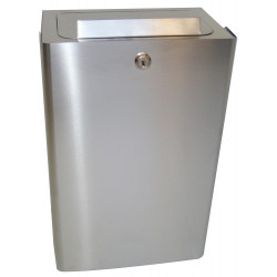 Stainless steel feminine hygiene bin with lock, wall-mounted or free-standing