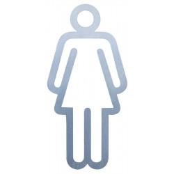 Pictograma de un inodoro de mujer, diseño de acero inoxidable