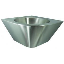 Estético y robusto lavabo de esquina de acero inoxidable
