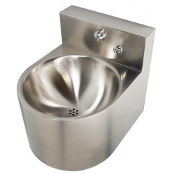 Wash basin mural vandal proof stainless steel with back splash faucet mural push button integrated