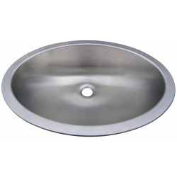 Recessed vanity bowl stainless steel in oval shape