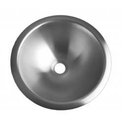 Recessed round vanity bowl in stainless steel Ø 320