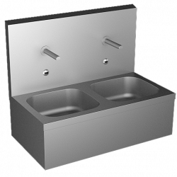 Double wash basin sinks automatic stainless steel for collectivities