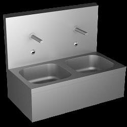 Lavabo double éviers inox automatique pour collectivités