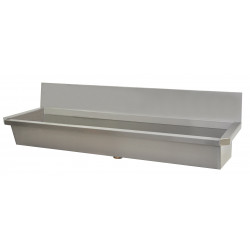 Collective wash basin stainless steel with back splash INTER-8-D for wall faucets