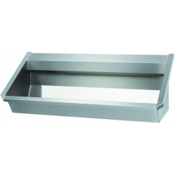 Collective wash basin professional stainless steel with back splash for wall faucets included