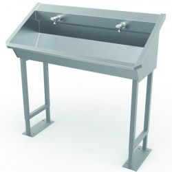 Collective wash basin self standing on foot stainless steel