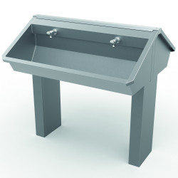 Collective wash basin central on foot stainless steel
