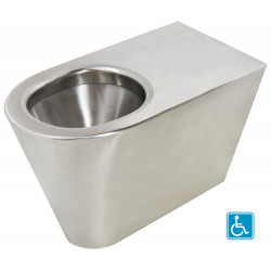 Inodoro accesible para PMR, de acero inoxidable, para instalar con fijación transversal a la pared