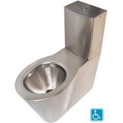 Inodoro de suelo elevado de acero inoxidable con cisterna OPTIMA para personas con movilidad reducida