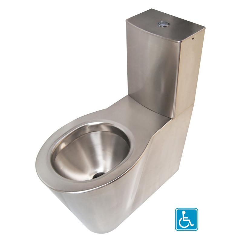 Photo Inodoro de suelo elevado de acero inoxidable con cisterna OPTIMA para personas con movilidad reducida IN-101-H