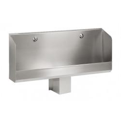 Urinario automático de acero inoxidable de 2 plazas montado en la pared