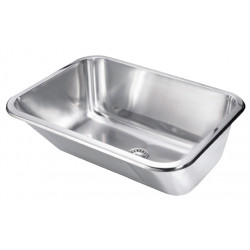 Wash basin in stainless steel recessed or wall mounted with ribbed wall