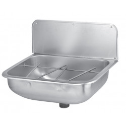 Wall mounted utility sink in stainless steel with liftable bucket grid