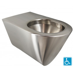 Cubeta de acero inoxidable ampliada antivandálica ULTIMA TC para discapacitados