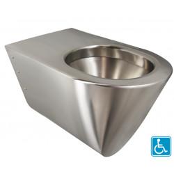 Taza de inodoro de acero inoxidable ampliada y accesible para discapacitados y personas con movilidad reducida