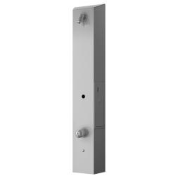 Panneau de douche inox mitigeur avec minuteur à jeton intégré pour usage collectif