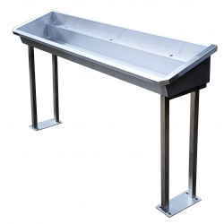 On feet self-supporting stainless steel collective washbasin