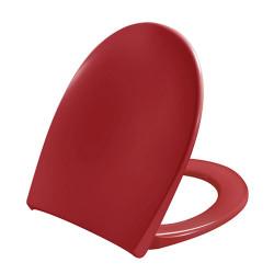 Asiento de inodoro rojo con retardador de caída