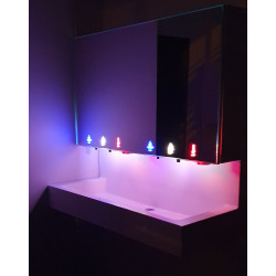Miniature-2 Collective washbasin with backsplash for mirror module with luminous pictograms LA-600