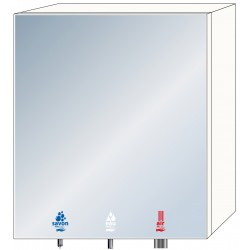 3-in-1 soap, water and air mirror cabinet for community washbasins