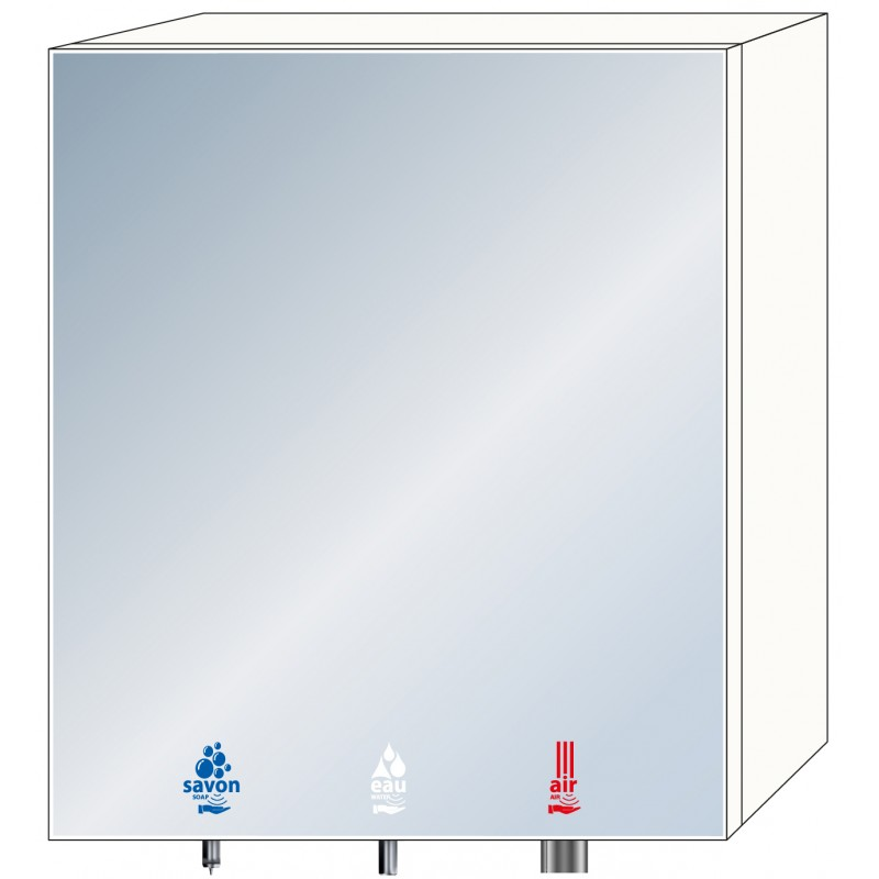 Photo 3-in-1 soap, water and air mirror cabinet for community washbasins RES-850