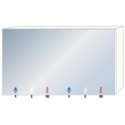 2-station mirror module with integrated soap, water and air accessories