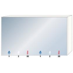 Módulo de espejo de 2 estaciones con accesorios integrados de jabón, agua y aire