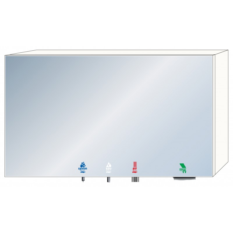 Photo 4 in 1 soap - water - air - paper mirror cabinet RES-855