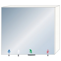 4-in-1 mirror cabinet with soap, water, hydro-alcoholic gel and paper towels