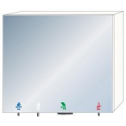 Armario con espejo 4 en 1 con jabón, agua, gel hidroalcohólico y toallas de papel