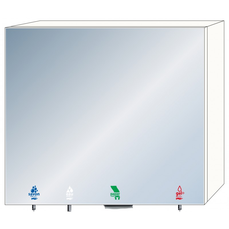 Photo 4-in-1 mirror cabinet with soap, water, hydro-alcoholic gel and paper towels RES-866