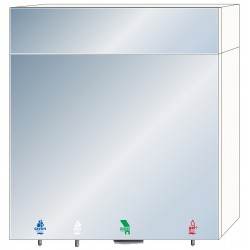 Miniature-1 4-in-1 mirror cabinet with soap, water, hydro-alcoholic gel and paper towels RES-866