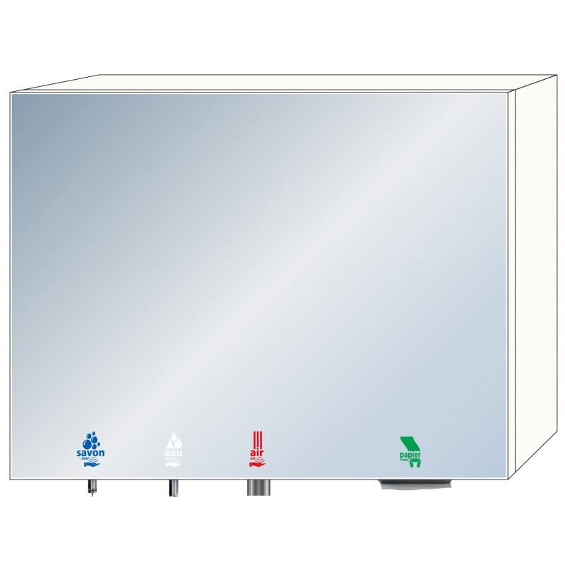 Photo 4 in 1 soap - water - air - paper mirror cabinet RES-854