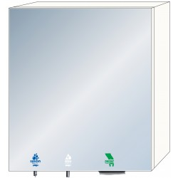 3-in-1 mirror cabinet for soap, water and paper towels for intensive use